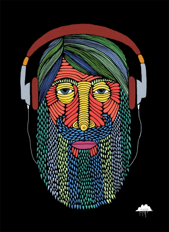 mulga the artist headphone man in colour paint illustration drawing artwork picture of man wearing headphones beard curly mostache bearded gentleman illustrator joel moore hipster fringe colour